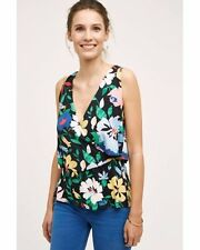 NWT Anthropologie $68 Florascura Deletta Ruffle Crossover Floral Drape Top L NEW