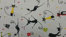 Black Cats Linen Look Curtain Craft Upholstery Quilting Designer Cotton Fabric