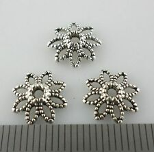 60pcs Tibetan Silver Hollow Flower End  Bead Caps Charms Jewelry 10x3mm