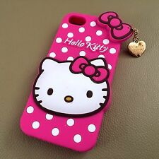 For iPhone SE / 5S - PINK HELLO KITTY CHARM Soft Silicone Rubber Skin Case Cover