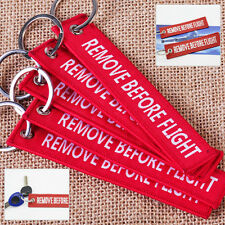 Remove Before Flight Key Chain Luggage Tag Zipper Pull Woven Embroidery Keyring