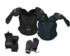 """NEW Champion Rhino Lacrosse 5 Piece Set Shoulder Arm Pads 12"""" Gloves 100-140 lbs"""