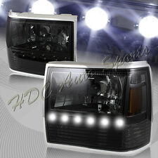 For 1991-1994 Ford Explorer Smoke Housing 1-Piece LED Head Lights+Bumper+Corner