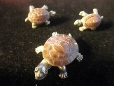 Silver tone Turtle Brooch/Pendant And Earrings Set W SILVERTone Accents