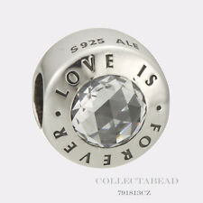 Authentic Pandora Sterling Silver Love Is Forever Clear CZ Bead 791813CZ