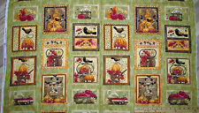 "Funky Fall Scarecrow Pumpkin Crow Clothworks Autumn Thanksgiving Fabric  23"" Pnl"