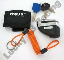 Wilix blue line 5.5mm black & chrome motorcycle disc lock, cable & LED light key