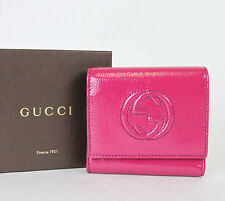 New Authentic GUCCI Soho Patent Leather Wallet w/Coin Purse Fuchsia 351485 5563