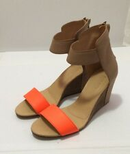 =ART= MM6 MAISON MARTIN MARGIELA Beige Orange Leather Heels Wedges Shoes US 9