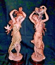 TWO CAPODIMONTE GIUSEPPE ARMANI 16 INCH FIGURINES DOVES & LILACS AND ROSES