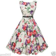 Fashion Women Sleeveless Flower Printing Vintage Dress w/ Belt Cocktail Sundress