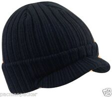 Navy Blue Adult Ribbed Warm Hat, Beanie Hat ,Quality Made Mens Boys Peak Cap Hat
