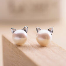 925 Sterling Silver Lovely Freshwater Pearl Cat Kitty Head Stud Earrings A4206