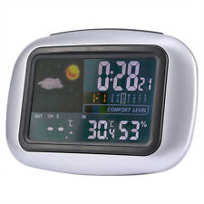 Color Digital Wireless Weather Station Temperature Humidity Sensor Meter Clock