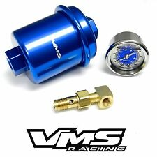 BLUE HIGH FLOW FUEL FILTER & 0-100 PSI PRESSURE GAUGE FOR 1995 HONDA CIVIC EG