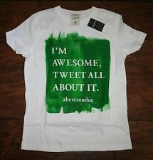 NWT Abercrombie Boys Small 7/8 Muscle Fit Tweet All About It SS T-Shirt LAST ONE