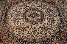 c1930s ANTIQUE RARE SQUARE PERSIAN NAIN ISFAHAN_ESFAHAN RUG 6.4x6.6 SILK ACCENTS