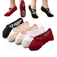 Child Adult Canvas Ballet Dance Shoes Slippers Pointe Dance Fitness Gymnastics