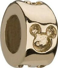 Disney Chamilia Mickey 14k Gold with Etched Engraved Icon Silhouette Bead Charm
