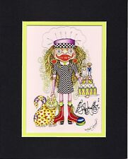 I LOVE TO BAKE, 8 x 10 MATTED GICLEE Jamie Hayes, WEDDING CAKE, CAT, HEARTS