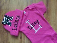 PERSONALIZED MONOGRAM CUSTOM One Piece Hot Pink Zebra Bodysuit Beanie Cap Hat