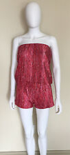 NWD ALEXIS PINK RED STRAPLESS KNIT ROMPER PLAYSUIT XS