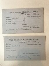 1911 Lot Of 2 Postcards The Conway National Bank Conway NH To Silver Lake NH