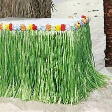 Green Grass Table Skirt w/Hibiscus Flower Wedding Beach Luau Tiki PARTY Hawaiian