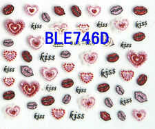 50+ Red Pink Lips Kisses Glitter Hearts 3D Nail Art Stickers Decals Decoration