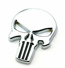 Chrome Alloy The Punisher Skull Skeleton Car Motorcycle Body Badge Emblem Decal