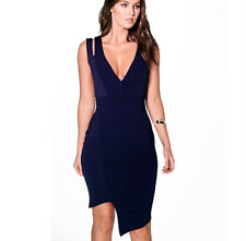 Ladies New Cut Out Asymmetric Bodycon Navy Dress Size 8 UK
