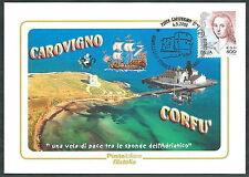 2000 ITALIA CARTOLINA SPECIALE GEMELLAGGIO CAROVIGNO CORFU - ED