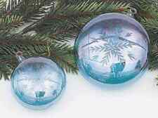 24613 Melrose Set/2 Light Blue Snowflake Etched Blown Glass Christmas Ornament
