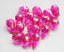 20pcs 8x12mm Faceted Cut Glass Crystal  Loose Spacer Teardrop Beads Hot Pink