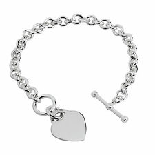 "7.5"" SILVER HEART TAG T-BAR BRACELET SOLID STERLING SILVER HALLMARKED BOXED"