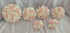WEDDING PACKAGE FLOWERS 6 X ARTIFICIAL FOAM ROSE BOUQUETS PINK IVORY BRIDE POSIE