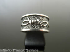 925 Sterling Silver 10mm Oxidised Barbed Wire Design Band Ring ~ Size P (7.75)