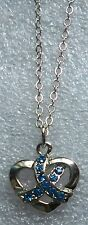 Colon Cancer Awareness ribbon on Heart necklace-sapphire crystals ,silvertone