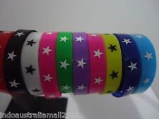 10 x Mixed Color Wrist Bands with Stars Printed Silicone Rubber(LB-310316)