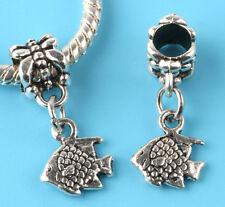 2pcs Tibetan silver fish Spacer beads fit European Bracelet Chain #L192