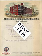 1921 BLISH MIZE SILLIMAN HARDWARE STEEL Atchison Kansas COLORFUL LETTERHEAD Nice