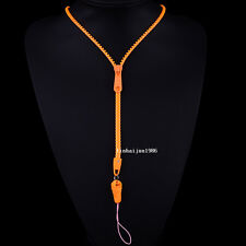 NEW HOT Free shipping zipper necklace Employee's card/key hang rope orange F50