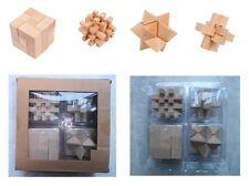 4 giochi di abilità e destrezza cm 6,5 cadauno, rompicapo puzzle 3D, in legno