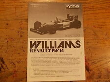 FX- Kyosho 1:8 F1 Body Instructions & Part Listing - Williams Renault FW-14 FW14