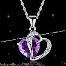Purple Heart Crystal Necklace Amethyst Silver Love Girlfriend Women Gift For Her