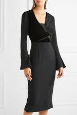 ROLAND MOURET ORMOND VELVET AND GUIPURE LACE-TRIMMED CREPE DRESS UK 10