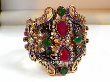Gourmette/bracelet, antique gold ruby emerald bracelet, manchette bangle, large bracelet