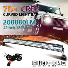 """CREE 7D+ 42INCH 1296W CURVED TRI-ROW LED LIGHT BAR SPOT FLOOD COMBO OFFROAD 42"""""""
