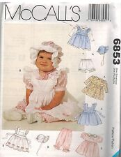 6853 UNCUT McCalls Sewing Pattern Infant Girls Pinafore Dress Pantaloon Bonnet