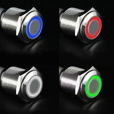 12V 16mm LED BRICOLAJE COCHE Potencia Pulsador Interruptor Plateado Aluminio